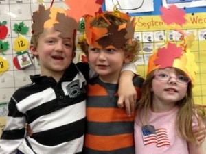 Three Adorable Kids with Fall Crowns